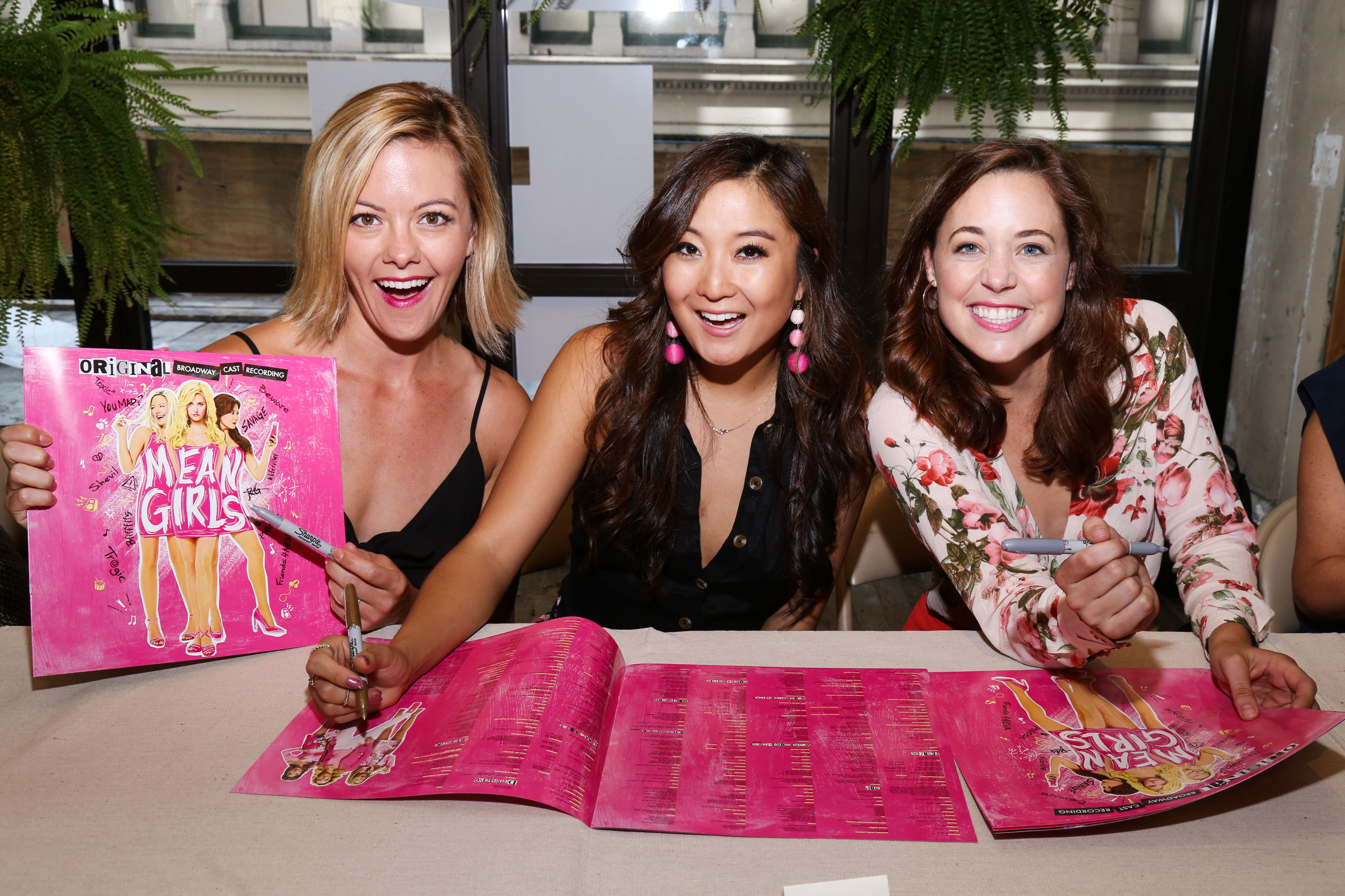See the Company of Mean Girls Celebrate Their Pink Vinyl Cast Album