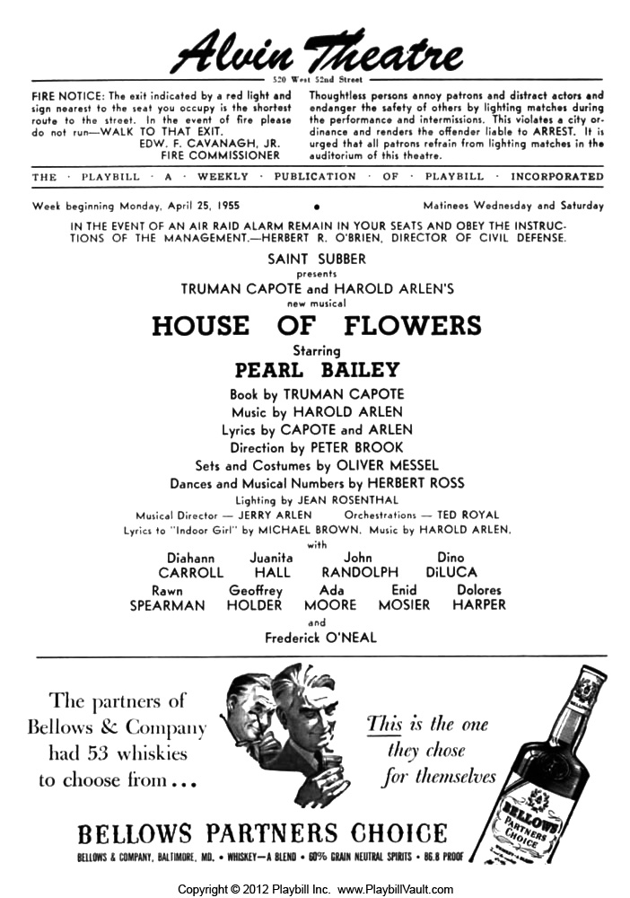House of Flowers - April 25, 1955